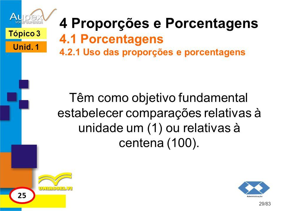4 Proporções e Porcentagens 4. 1 Porcentagens 4. 2