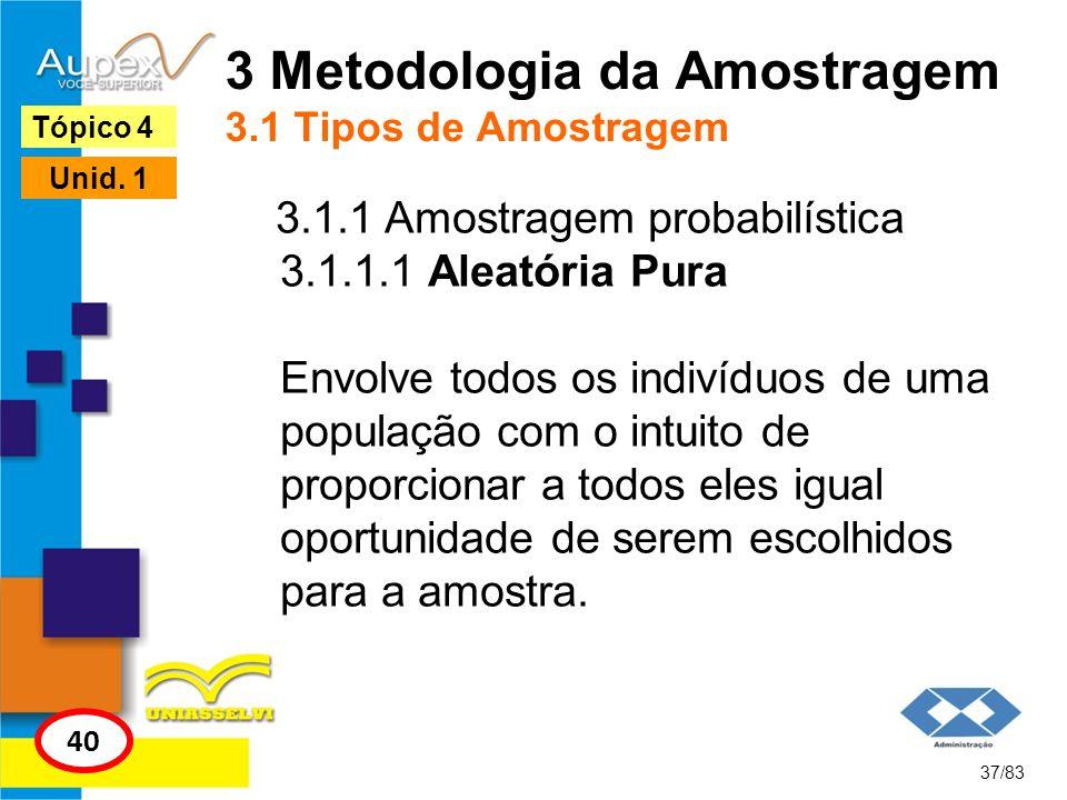 3 Metodologia da Amostragem 3.1 Tipos de Amostragem
