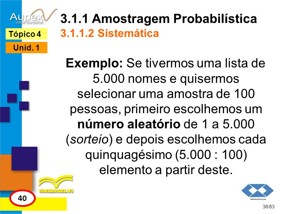 3.1.1 Amostragem Probabilística 3.1.1.2 Sistemática