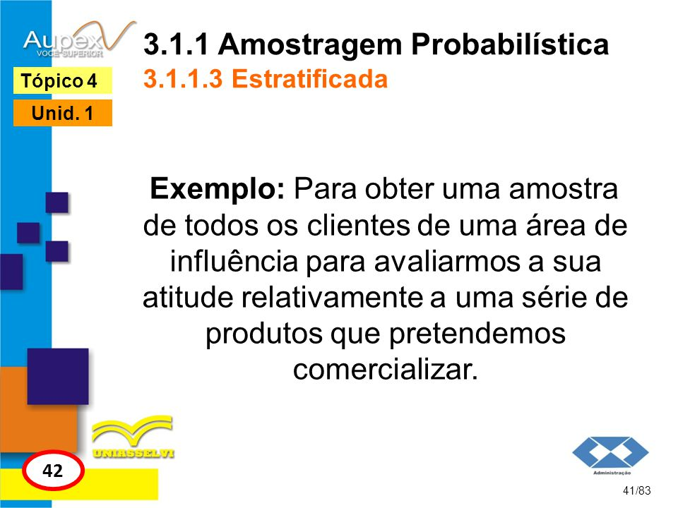 3.1.1 Amostragem Probabilística 3.1.1.3 Estratificada