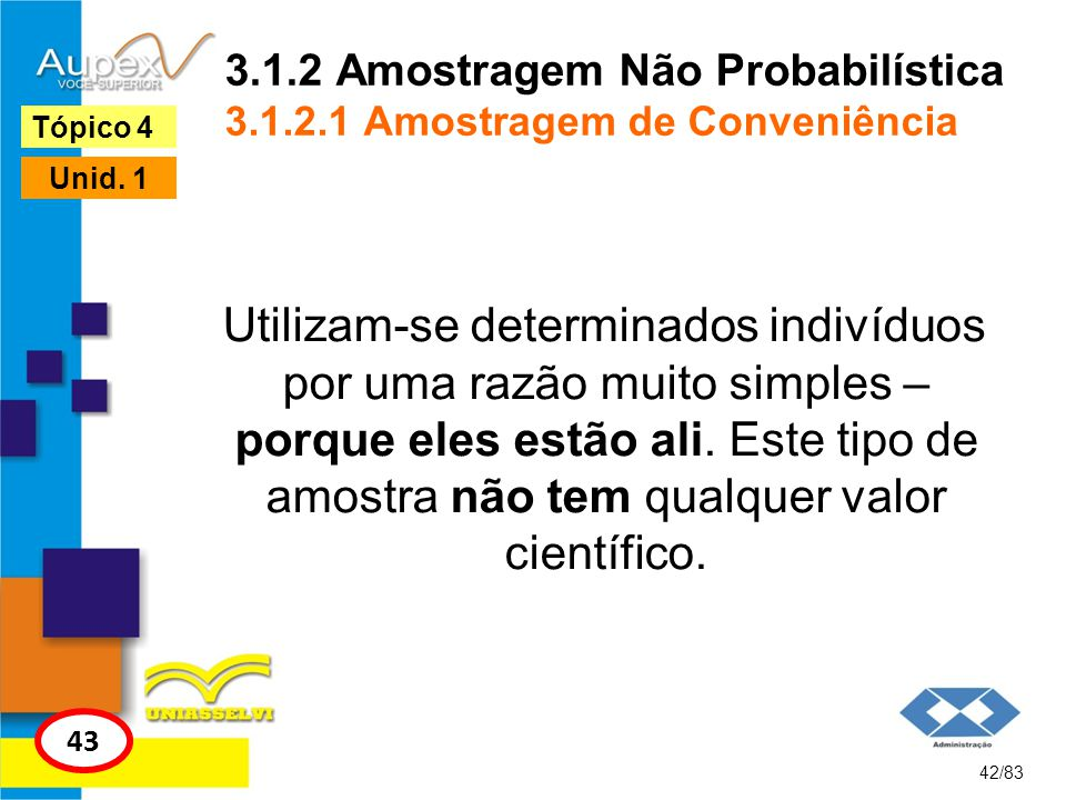 3.1.2 Amostragem Não Probabilística 3.1.2.1 Amostragem de Conveniência