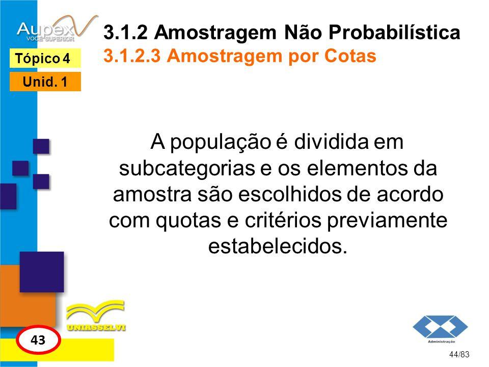 3.1.2 Amostragem Não Probabilística 3.1.2.3 Amostragem por Cotas