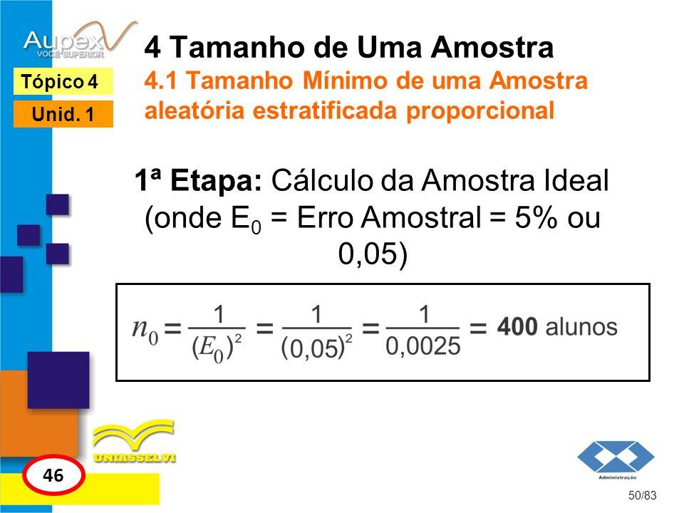 4 Tamanho de Uma Amostra 4.1 Tamanho Mínimo de uma Amostra aleatória estratificada proporcional