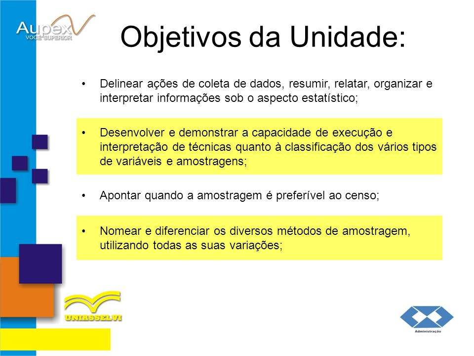 Objetivos da Unidade: Delinear ações de coleta de dados, resumir, relatar, organizar e interpretar informações sob o aspecto estatístico;