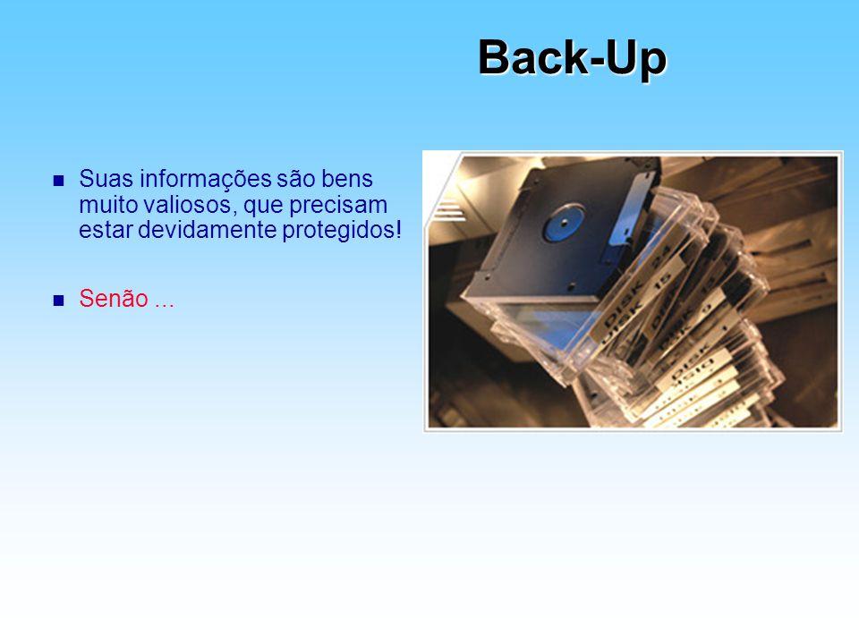 Back-Up Suas informações são bens muito valiosos, que precisam estar devidamente protegidos.