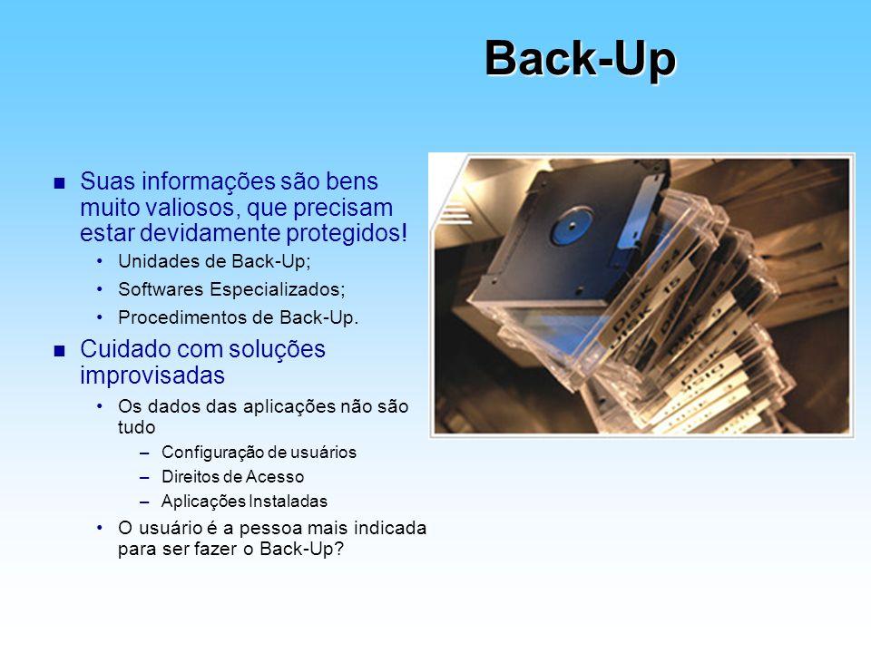 Back-Up Suas informações são bens muito valiosos, que precisam estar devidamente protegidos! Unidades de Back-Up;