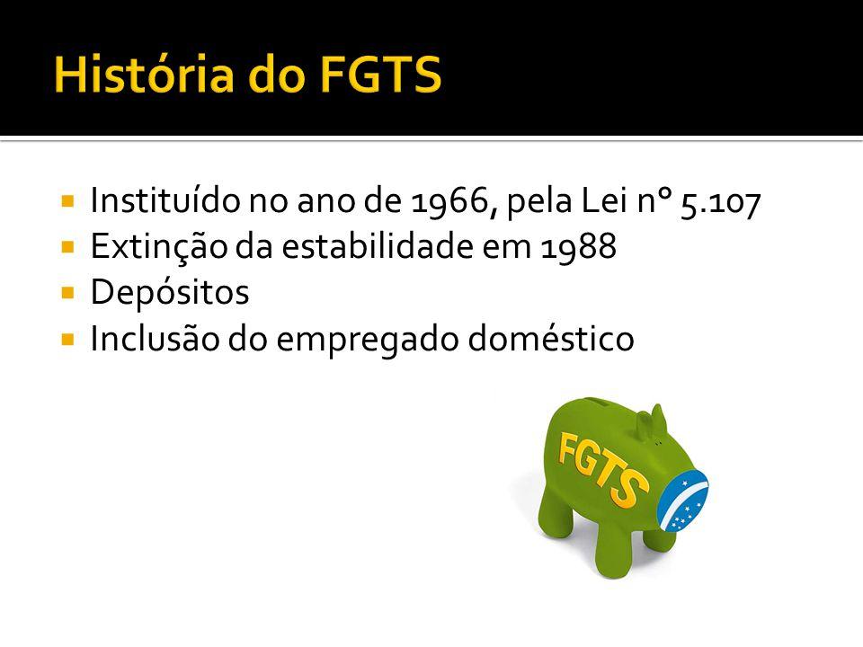 História do FGTS Instituído no ano de 1966, pela Lei n° 5.107