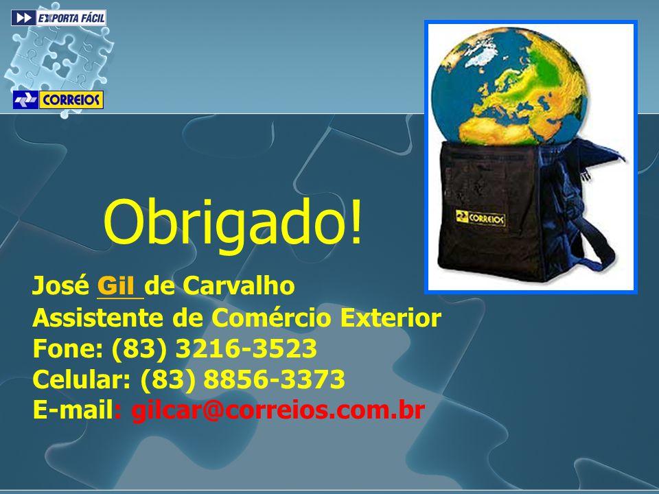 Obrigado! José Gil de Carvalho Assistente de Comércio Exterior