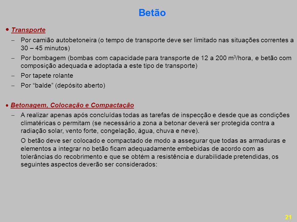 Betão  Transporte.  Por camião autobetoneira (o tempo de transporte deve ser limitado nas situações correntes a 30 – 45 minutos)