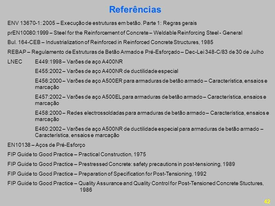 Referências ENV 13670-1: 2005 – Execução de estruturas em betão. Parte 1: Regras gerais.
