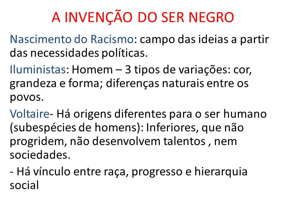 A INVENÇÃO DO SER NEGRO Nascimento do Racismo: campo das ideias a partir das necessidades políticas.