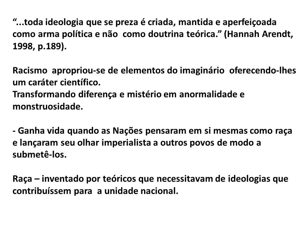 ...toda ideologia que se preza é criada, mantida e aperfeiçoada como arma política e não como doutrina teórica. (Hannah Arendt, 1998, p.189).