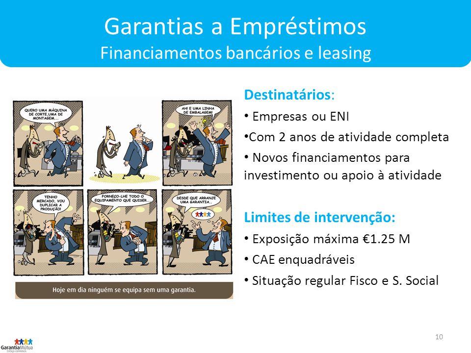 Garantias a Empréstimos Financiamentos bancários e leasing
