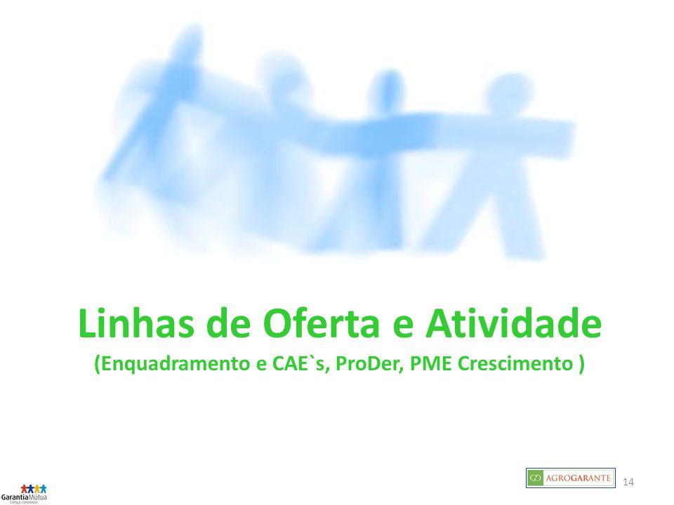 Linhas de Oferta e Atividade (Enquadramento e CAE`s, ProDer, PME Crescimento )