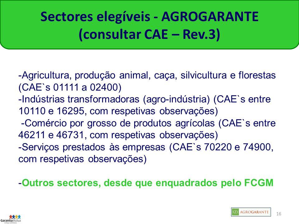 Sectores elegíveis - AGROGARANTE (consultar CAE – Rev.3)
