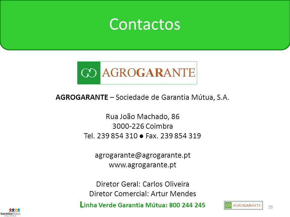 Linha Verde Garantia Mútua: 800 244 245