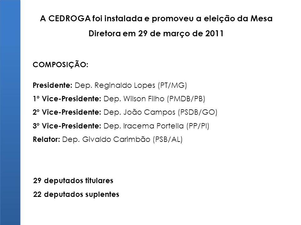 A CEDROGA foi instalada e promoveu a eleição da Mesa Diretora em 29 de março de 2011