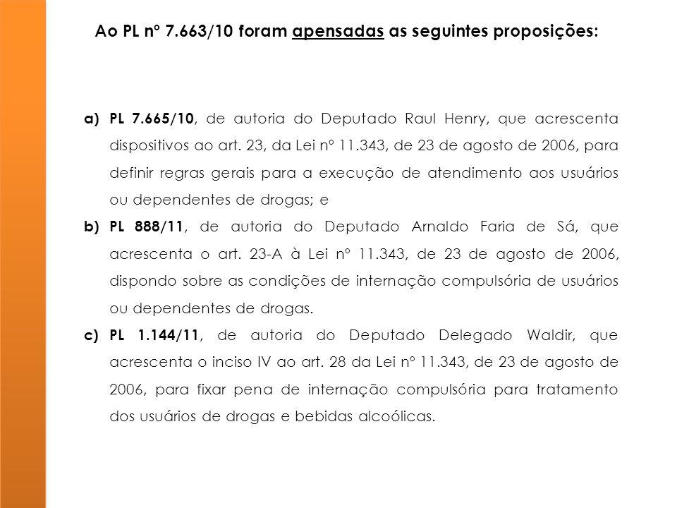 Ao PL nº 7.663/10 foram apensadas as seguintes proposições: