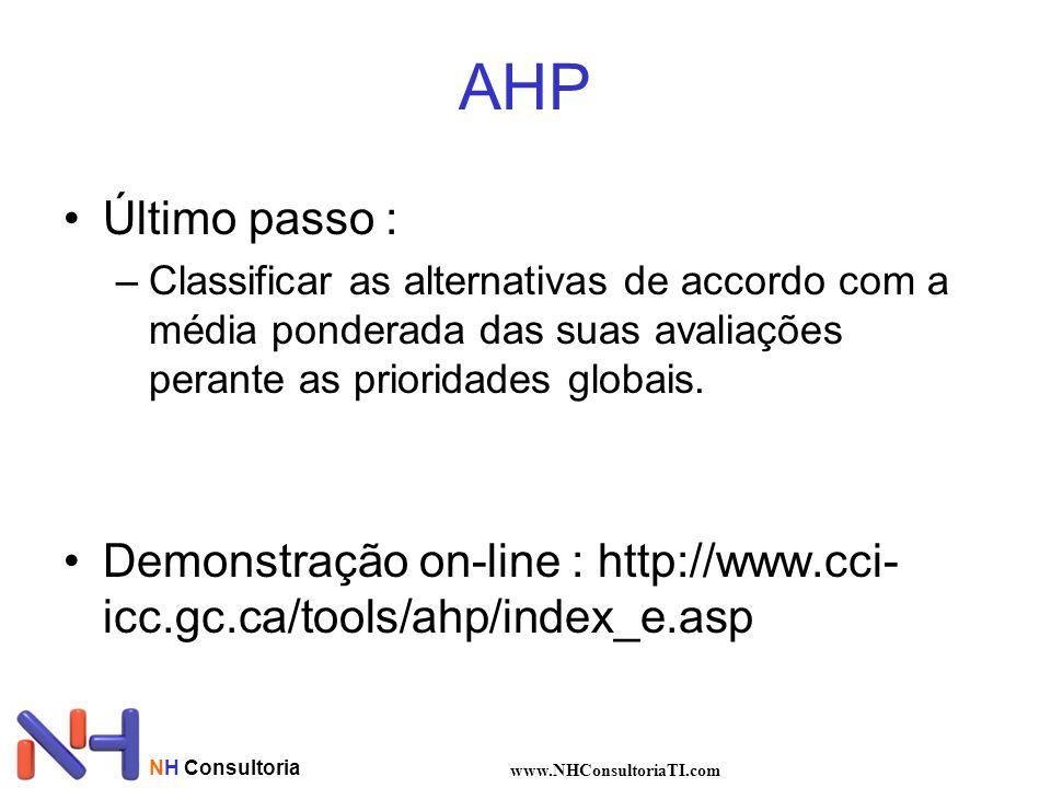 AHP Último passo : Classificar as alternativas de accordo com a média ponderada das suas avaliações perante as prioridades globais.