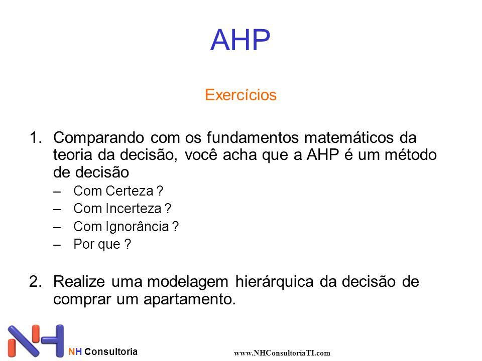 AHP Exercícios. Comparando com os fundamentos matemáticos da teoria da decisão, você acha que a AHP é um método de decisão.
