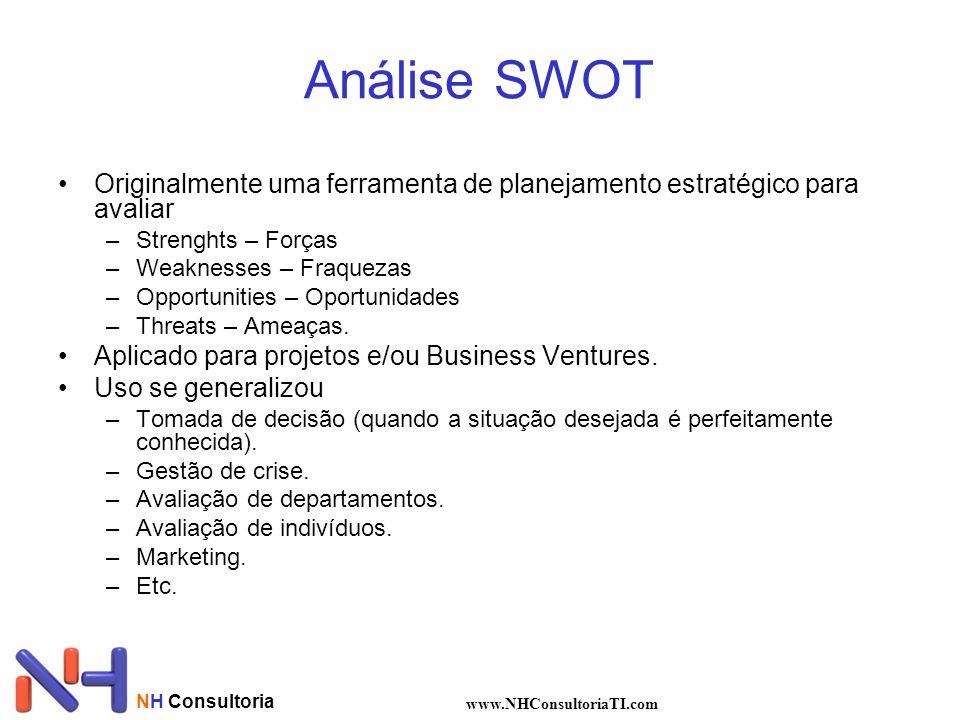 Análise SWOT Originalmente uma ferramenta de planejamento estratégico para avaliar. Strenghts – Forças.