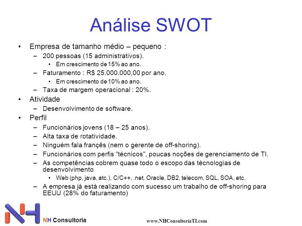 Análise SWOT Empresa de tamanho médio – pequeno : Atividade Perfil