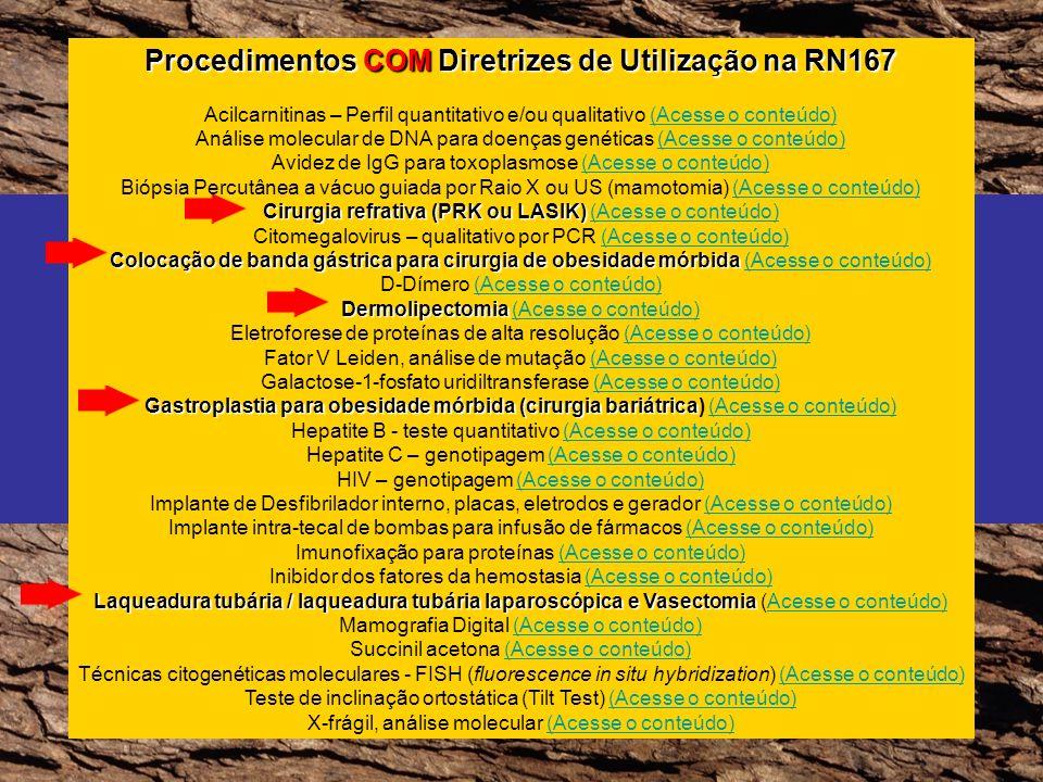 Procedimentos COM Diretrizes de Utilização na RN167