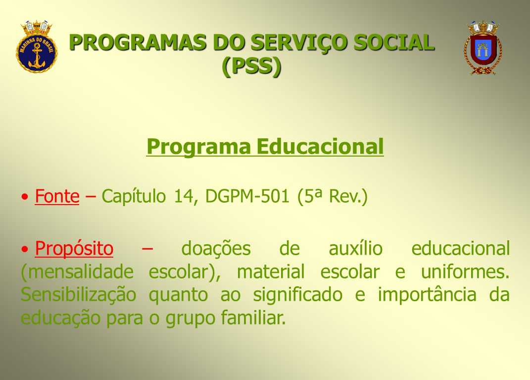 PROGRAMAS DO SERVIÇO SOCIAL (PSS)