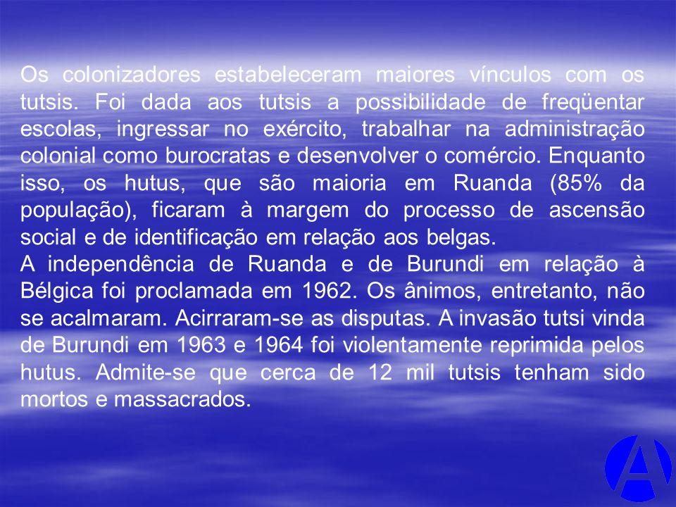 Os colonizadores estabeleceram maiores vínculos com os tutsis