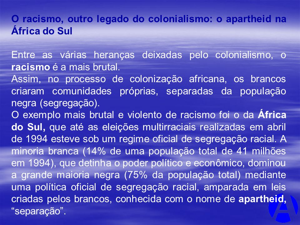 O racismo, outro legado do colonialismo: o apartheid na África do Sul