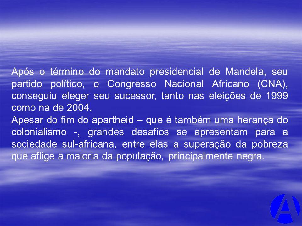 Após o término do mandato presidencial de Mandela, seu partido político, o Congresso Nacional Africano (CNA), conseguiu eleger seu sucessor, tanto nas eleições de 1999 como na de 2004.