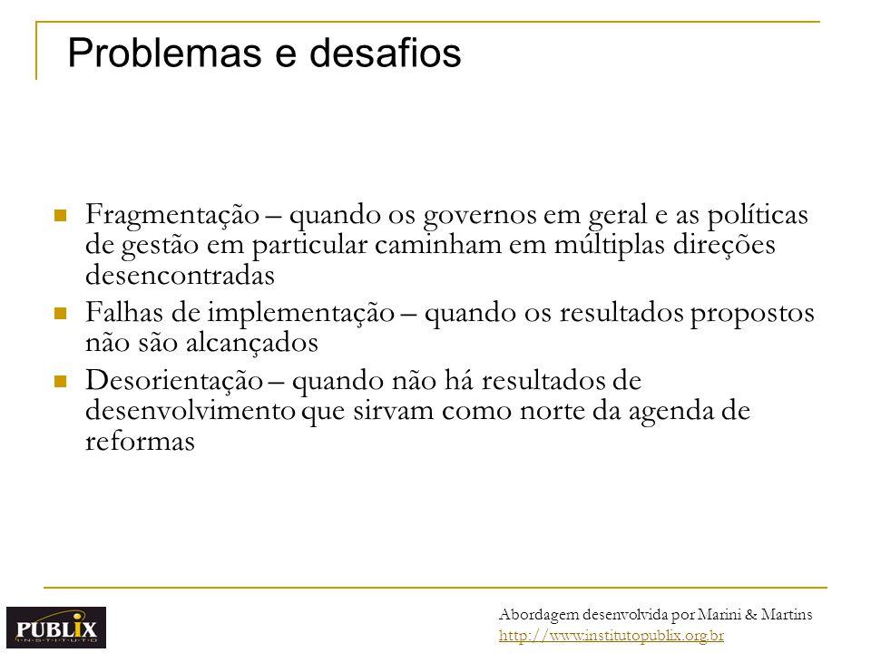 Problemas e desafios Fragmentação – quando os governos em geral e as políticas de gestão em particular caminham em múltiplas direções desencontradas.