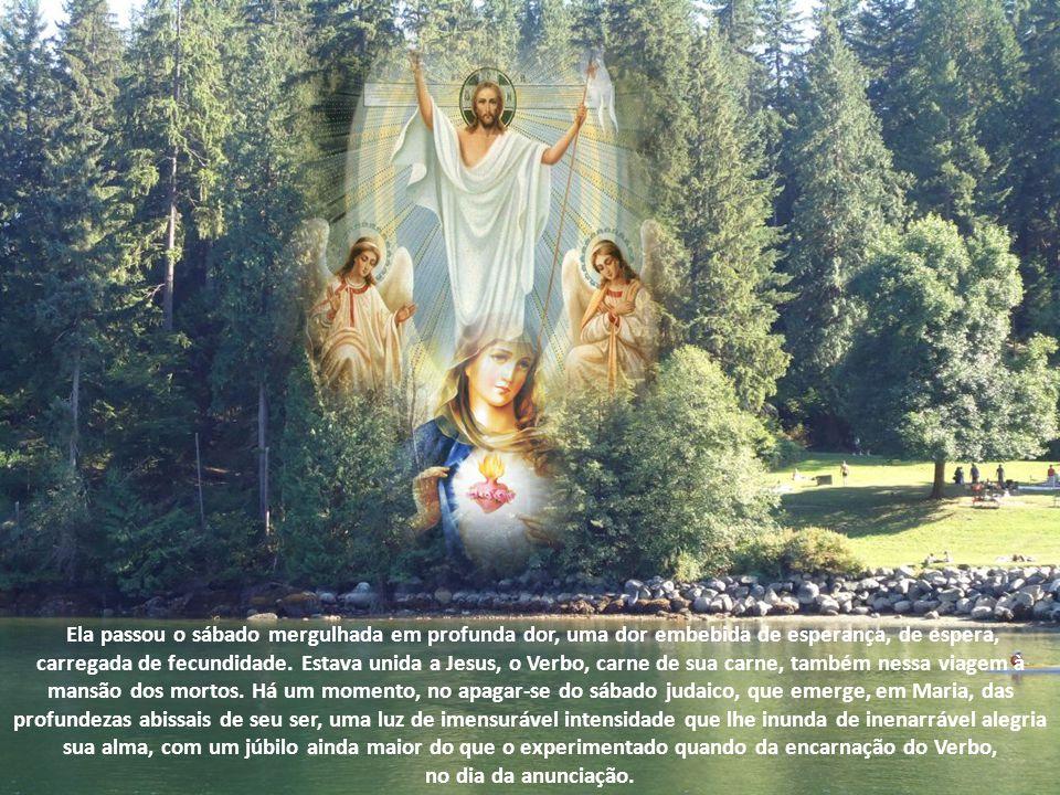 Ela passou o sábado mergulhada em profunda dor, uma dor embebida de esperança, de espera, carregada de fecundidade. Estava unida a Jesus, o Verbo, carne de sua carne, também nessa viagem à mansão dos mortos. Há um momento, no apagar-se do sábado judaico, que emerge, em Maria, das profundezas abissais de seu ser, uma luz de imensurável intensidade que lhe inunda de inenarrável alegria sua alma, com um júbilo ainda maior do que o experimentado quando da encarnação do Verbo,