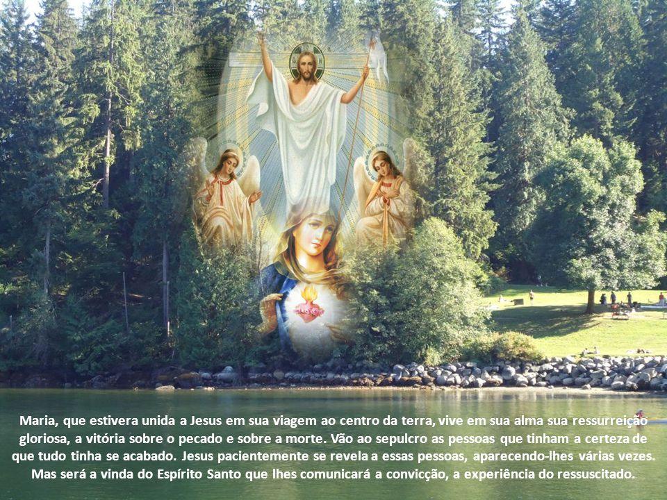 Maria, que estivera unida a Jesus em sua viagem ao centro da terra, vive em sua alma sua ressurreição gloriosa, a vitória sobre o pecado e sobre a morte.