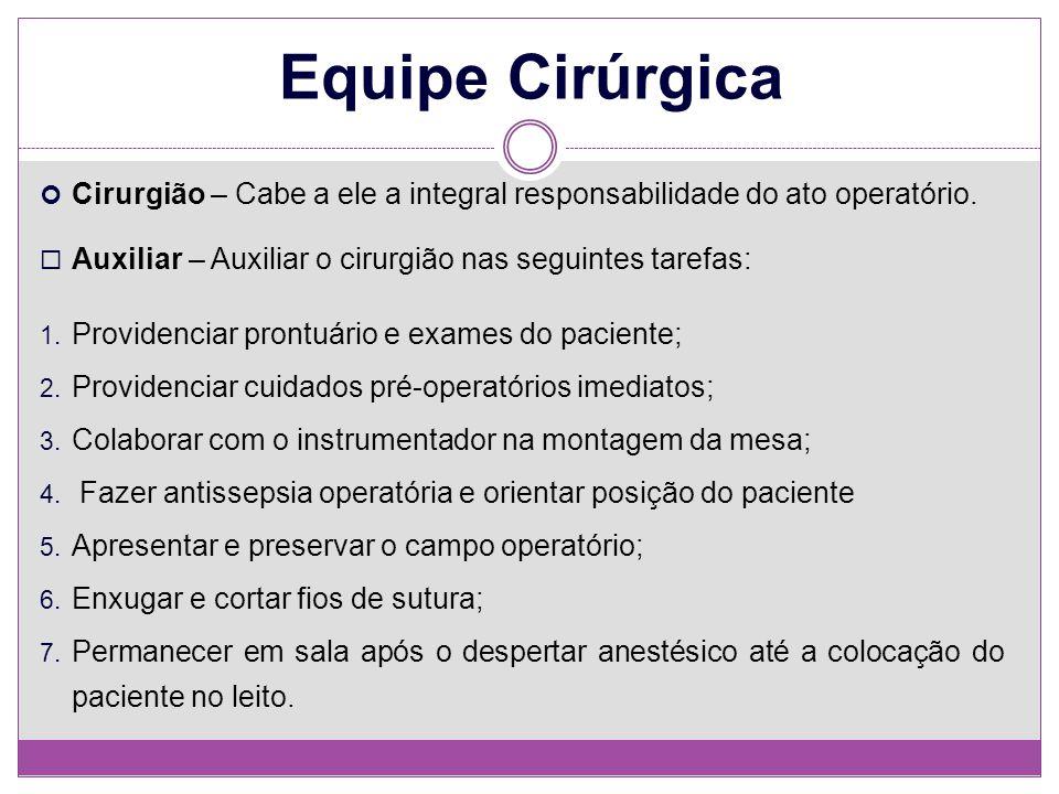 Equipe Cirúrgica Cirurgião – Cabe a ele a integral responsabilidade do ato operatório. Auxiliar – Auxiliar o cirurgião nas seguintes tarefas:
