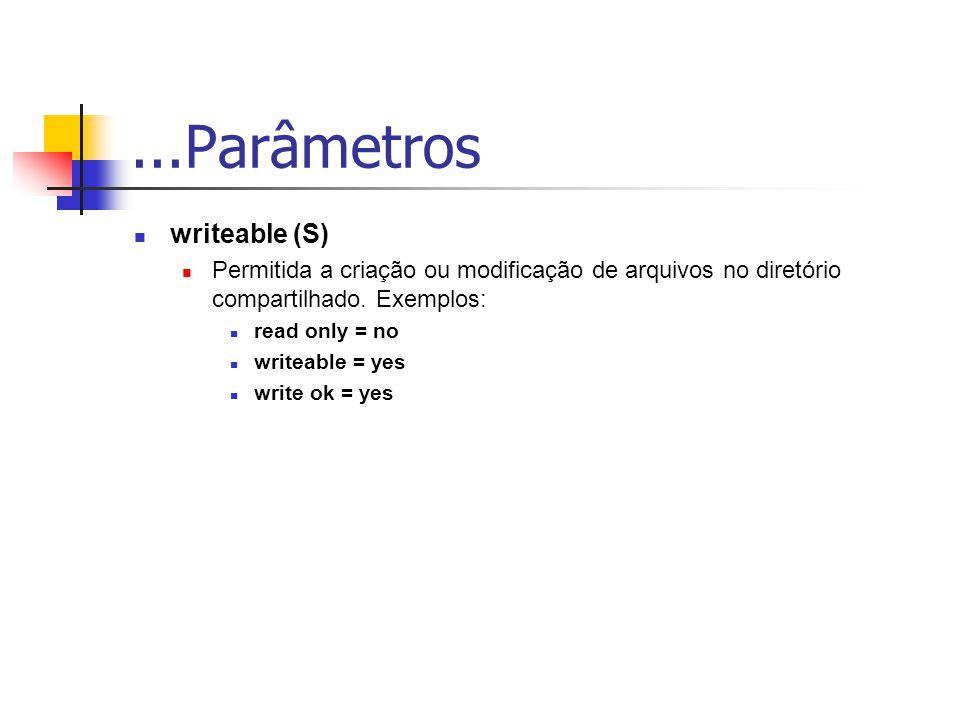 ...Parâmetros writeable (S)