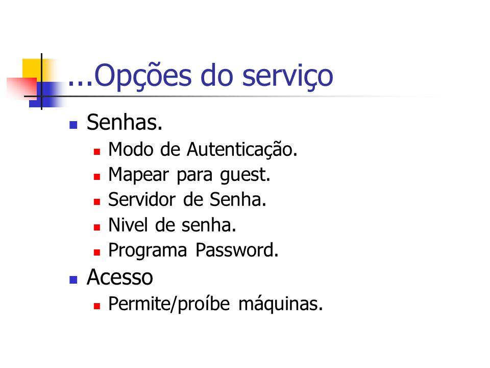 ...Opções do serviço Senhas. Acesso Modo de Autenticação.