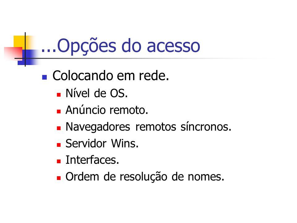 ...Opções do acesso Colocando em rede. Nível de OS. Anúncio remoto.