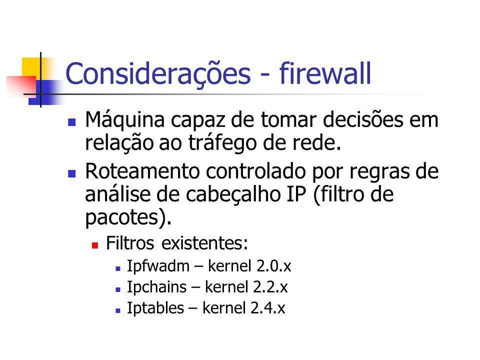Considerações - firewall