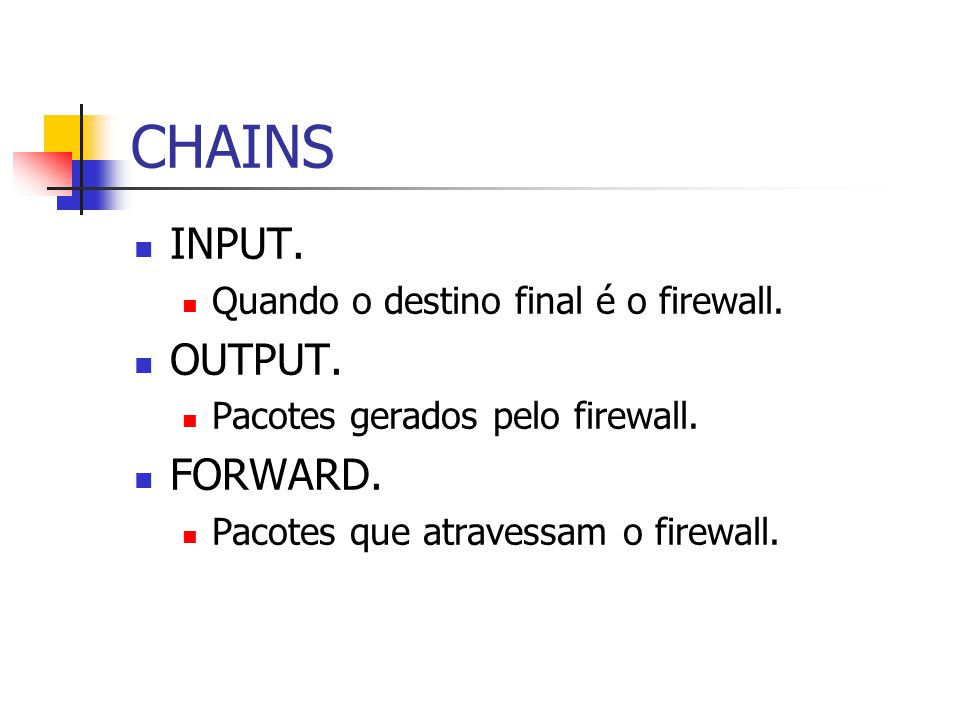 CHAINS INPUT. OUTPUT. FORWARD. Quando o destino final é o firewall.