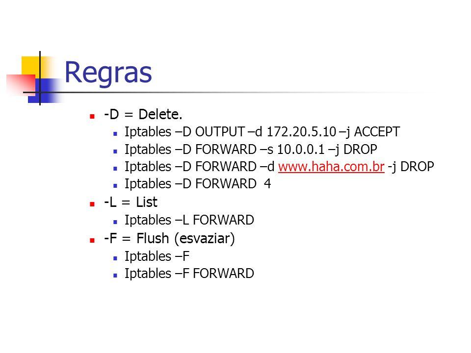 Regras -D = Delete. -L = List -F = Flush (esvaziar)