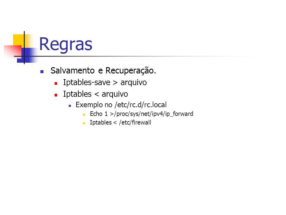 Regras Salvamento e Recuperação. Iptables-save > arquivo