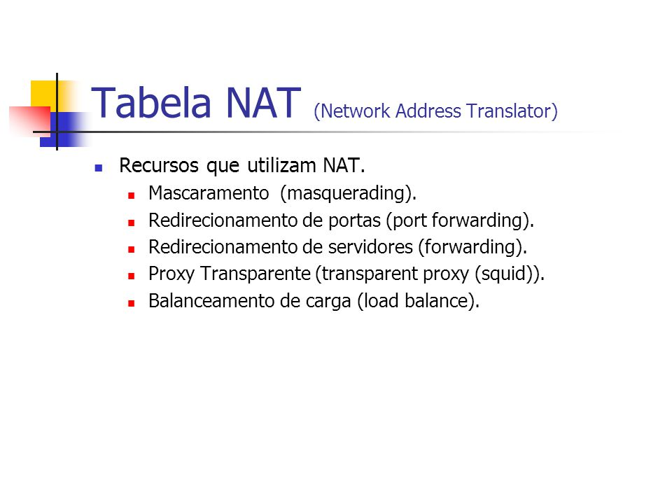 Tabela NAT (Network Address Translator)