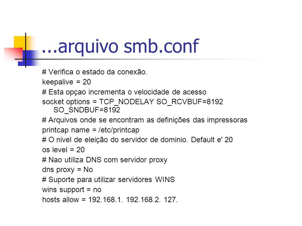 ...arquivo smb.conf # Verifica o estado da conexão. keepalive = 20