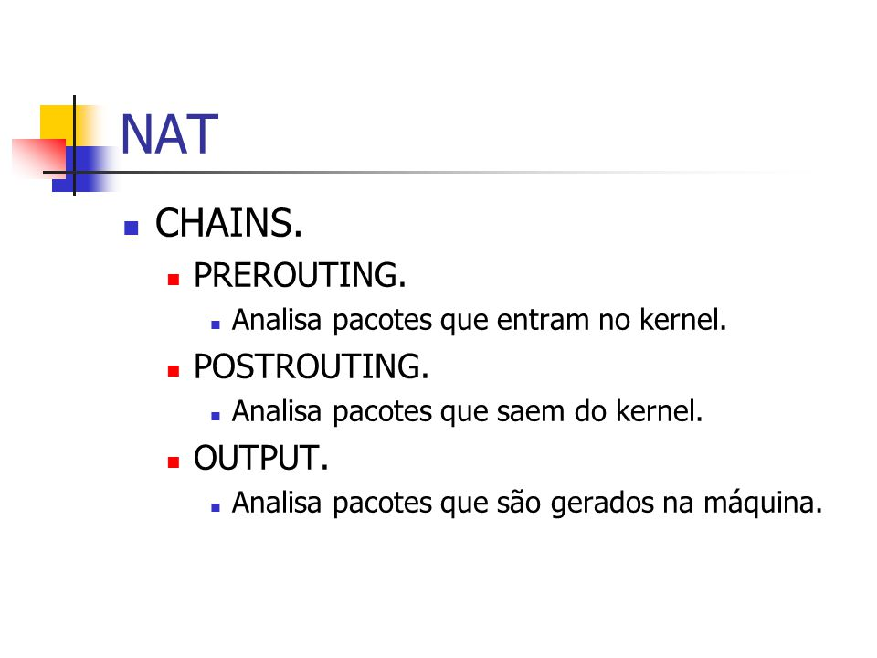 NAT CHAINS. PREROUTING. POSTROUTING. OUTPUT.