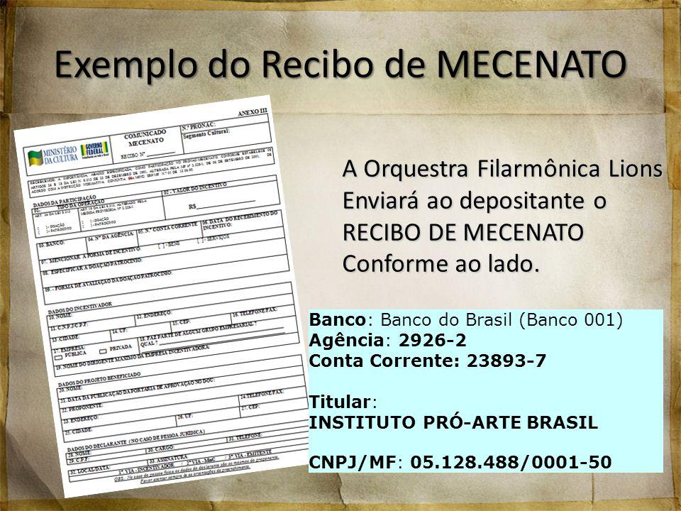 Exemplo do Recibo de MECENATO