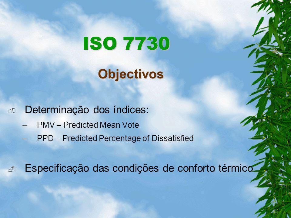 ISO 7730 Objectivos Determinação dos índices:
