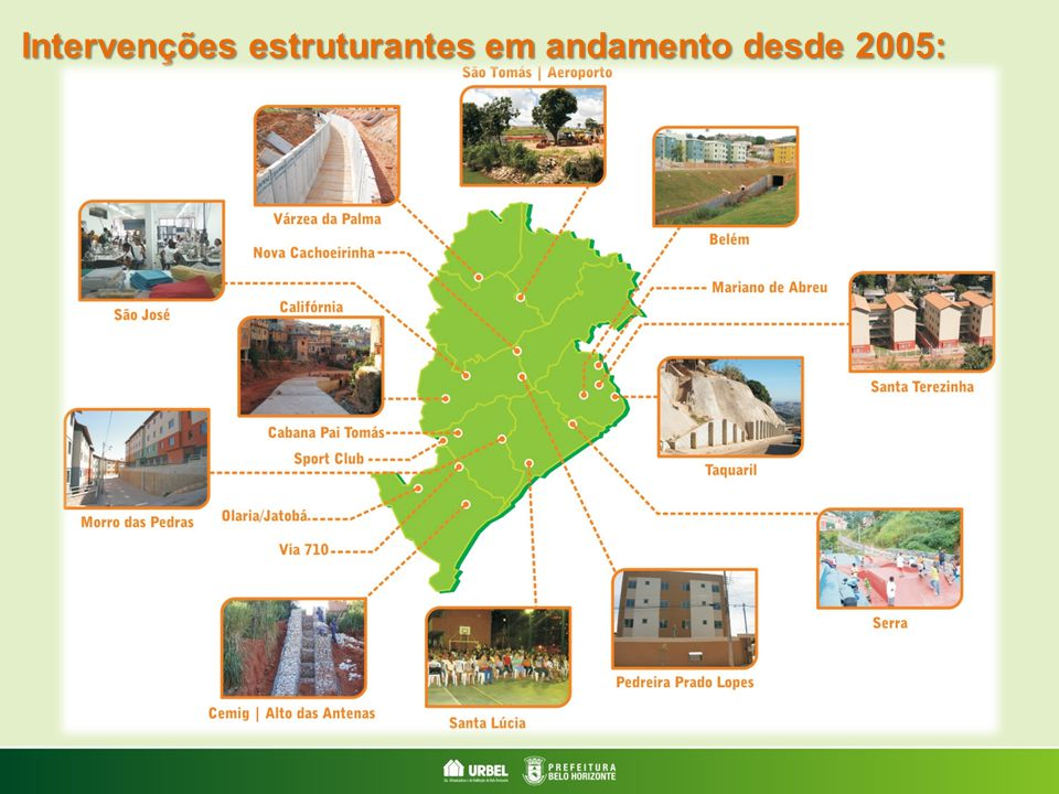 Intervenções estruturantes em andamento desde 2005: