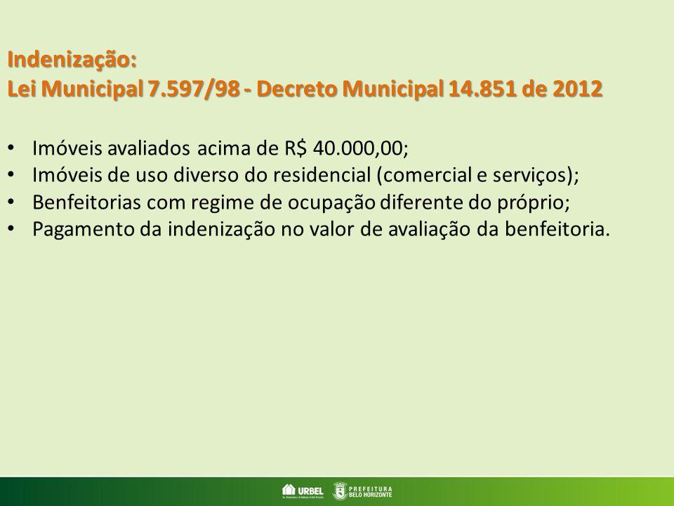 Lei Municipal 7.597/98 - Decreto Municipal 14.851 de 2012