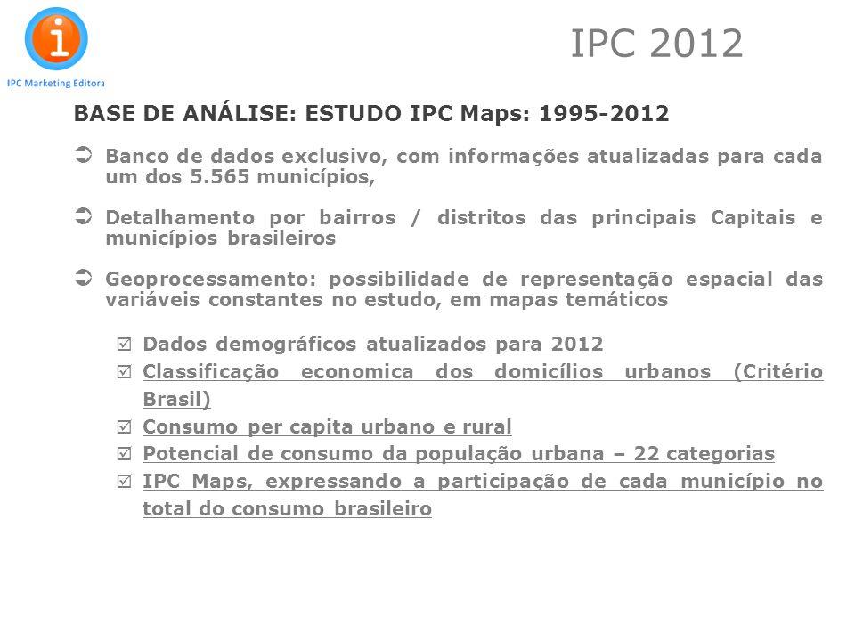 IPC 2012 BASE DE ANÁLISE: ESTUDO IPC Maps: 1995-2012